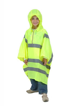 Hi Visibility Pu coated light weight nylon poncho with own stuff sack