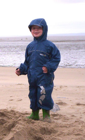 Elliott having fun in his Regatta Puddle Suit