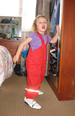 Ezzie in Nana's bedroom sporting her Kiba dungarees and nana's shoes!