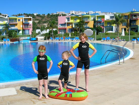 Michael, Erin and Alice getting the most from their pool in TWF wetsuits!