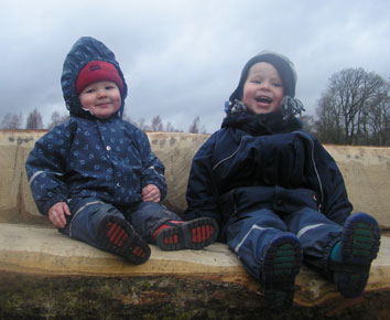 Ross and Lewis enjoying Scottish winter in Kiba dungarees!
