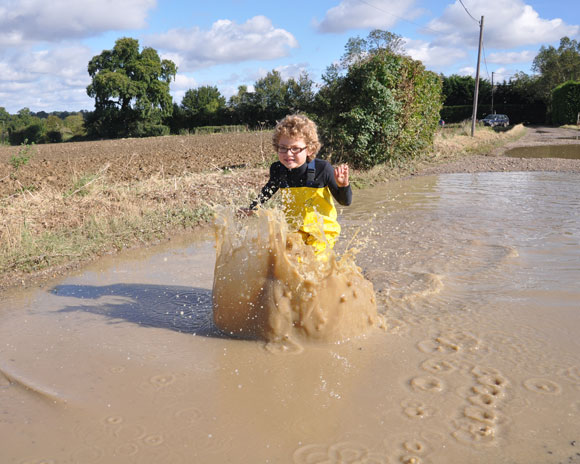 Splashing in muddy puddles!