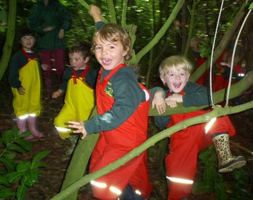 Forest School children in the trees!