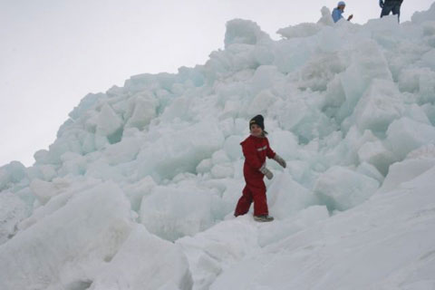 Angus in his Dare2Be Toboggan Ski Suit on an Iceberg in a frozen Siberian sea