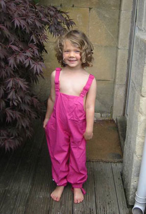 Honey trying on her brand new dungarees from her Kiba Suit in Pink/Rose