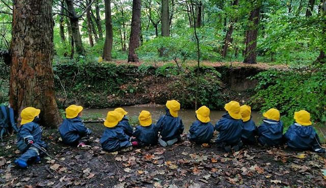 Forest School Group having a lovely time outdoors in their Ocean Rainwear Suits and Yellow Souwesters