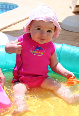 Isabella snug in her Konfidence Babywarma Wetsuit