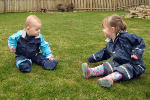 James and Isla playing in the garden