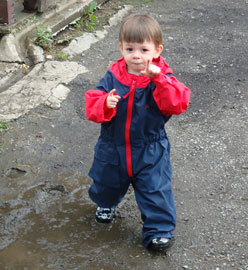James playing in a puddle