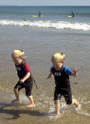 Joshua and Connor in TWF CIC wetsuits