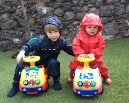 Meike's children in Regatta puddle suits