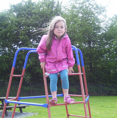 Niamh having fun playing in her Kiba print jacket
