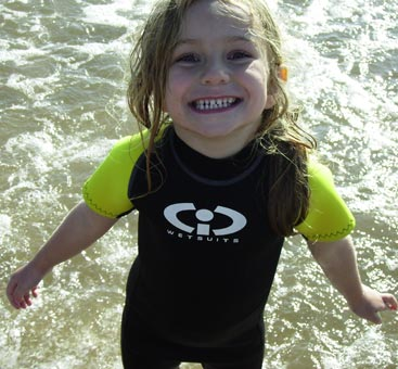 Poppy enjoying her CIC wetsuit