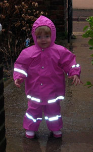 Rachel ready for puddle jumping in Kiba jacket and dungarees