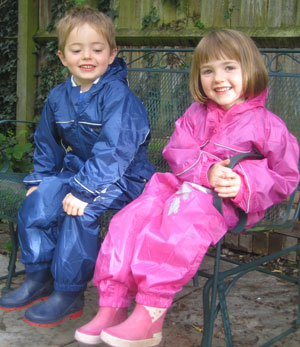Blue and Pink Puddle suits