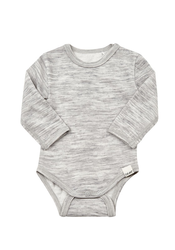 CelaVi luxury babybody suit with merino wool outer layer, and smooth comfortable bamboo inner layer
