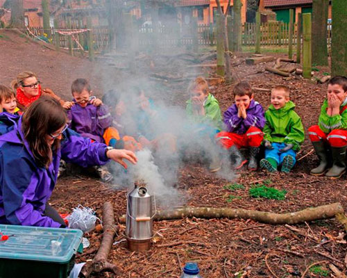 camp fire cooking at Forest School