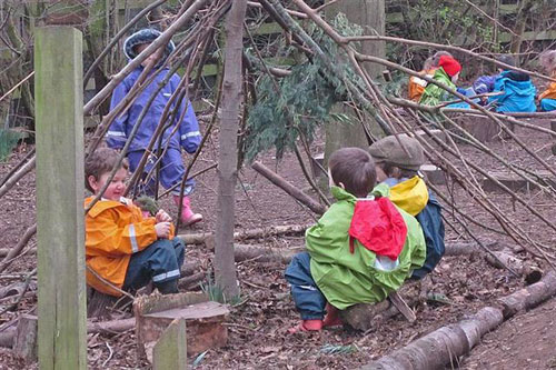 inside our stick nest at Forest School