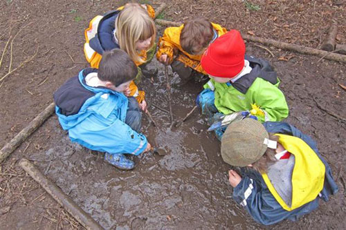 Making mud soup at Forest School